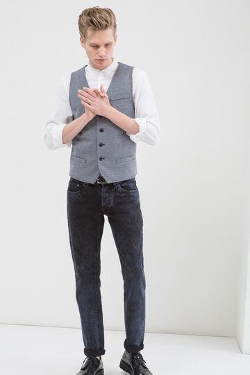 Waistcoat with pockets, White/Blue, hi-res