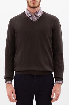 Pullover misto lana viscosa Rumford , Marrone, hi-res