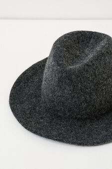 Wide brim hat in wool, Grey Marl, hi-res