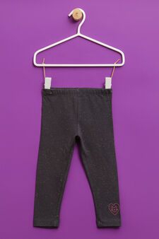 Stretch embroidered cotton trousers, Dark Grey, hi-res