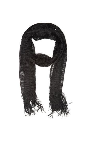 Mesh scarf with fringe, Black, hi-res