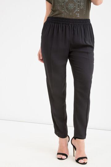 Curvy 100% viscose trousers, Black, hi-res