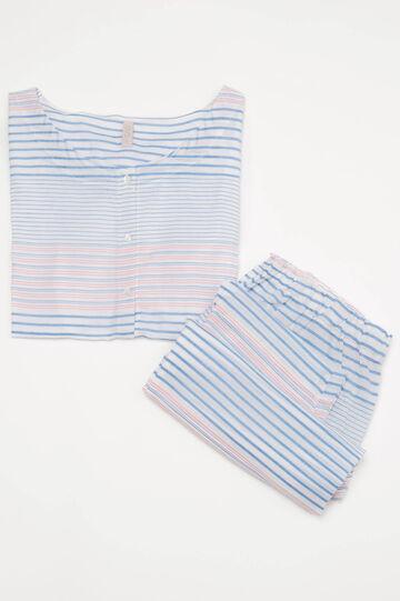 Striped pattern pyjamas in 100% cotton, White, hi-res