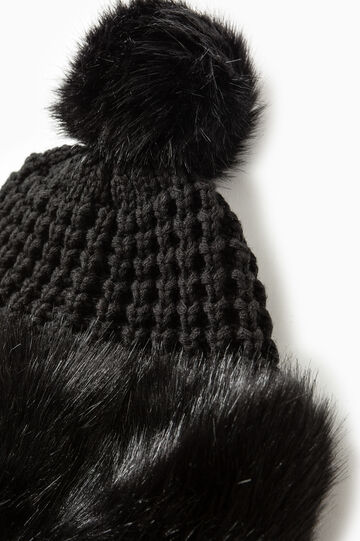 Knitted beanie cap with fur, Black, hi-res