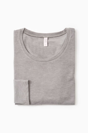 Stretch undershirt with long sleeves, Grey Marl, hi-res