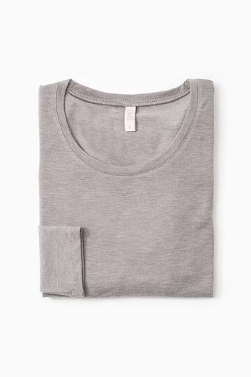 T-shirt intima stretch maniche lunghe, Grigio melange, hi-res
