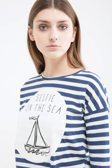 Cotton T-shirt with stripes, White/Blue, hi-res