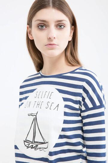 T-shirt cotone a righe, Bianco/Blu, hi-res