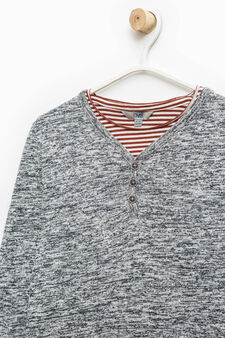 Pullover and striped T-shirt set, Blue/Red, hi-res