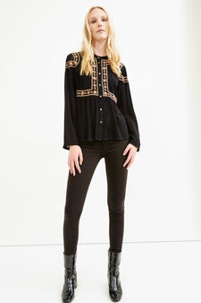 100% viscose blouse with embroidery, Black, hi-res