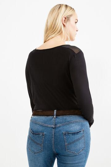 Curvy T-shirt with semi-sheer inserts, Black, hi-res