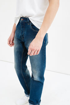 Comfort-fit, worn-effect stretch jeans, Dark Wash, hi-res