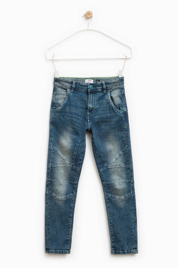 Worn-effect low-fit stretch jeans, Blue, hi-res