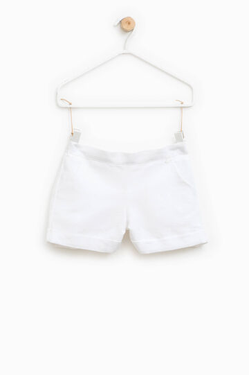 Cotton and linen shorts with pockets, White, hi-res