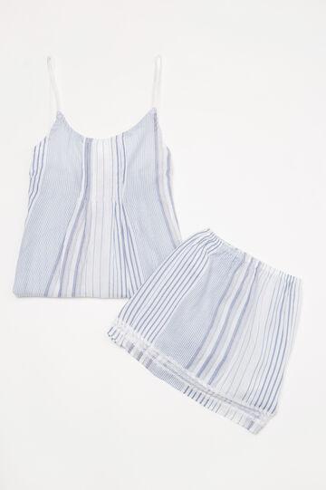 Short patterned two-tone pyjamas, White, hi-res