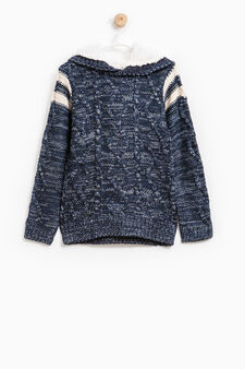 Knitted pullover with hood, Navy Blue, hi-res
