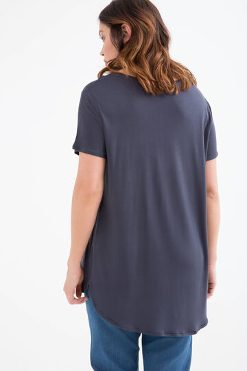 Curvy viscose T-shirt with pocket., Navy Blue, hi-res