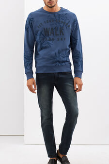 Round neck sweatshirt with tone on tone print, Blue, hi-res