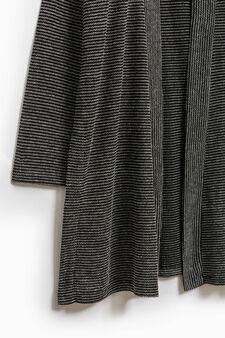 Smart Basic long striped cardigan, Black/White, hi-res