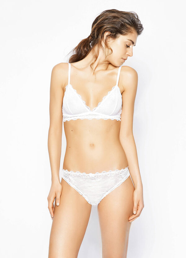 Lace thong with gathered motif | OVS