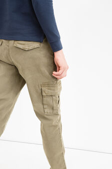 Pantaloni chino cargo cotone stretch, Verde militare, hi-res