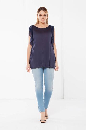 T-shirt in misto viscosa Curvy, Blu navy, hi-res