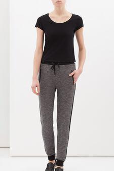 Leggings in cotton blend, Grey Marl, hi-res