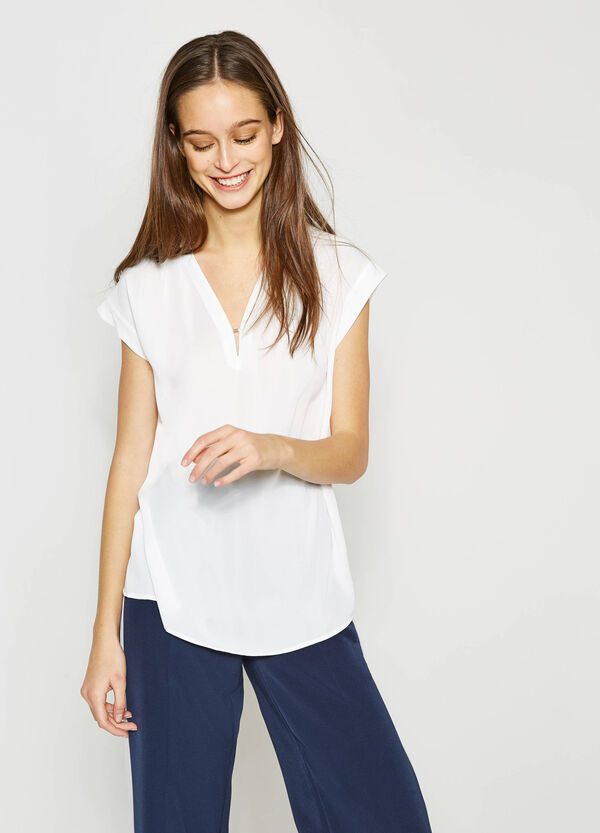 V-neck blouse with glossy insert | OVS