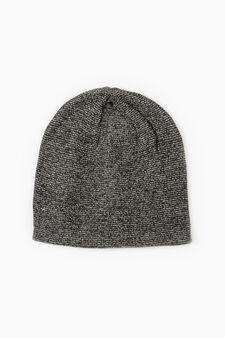 Cappello a cuffia lavorato tricot, Nero canna di fucile, hi-res