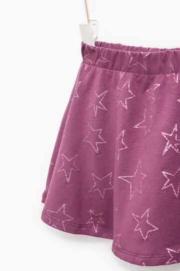 Stretch cotton skirt with star pattern, Plum, hi-res