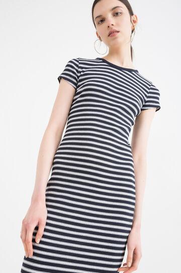 Striped cotton blend dress., Navy Blue, hi-res