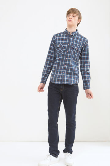 Camicia cotone a quadri G&H, Bianco/Blu, hi-res