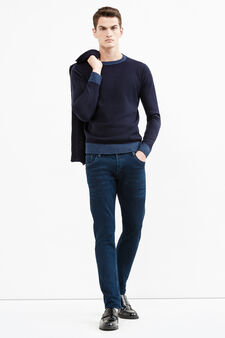 Solid colour knitted pullover, Navy Blue, hi-res