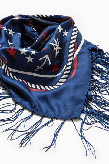 Printed scarf with fringe, Blue, hi-res