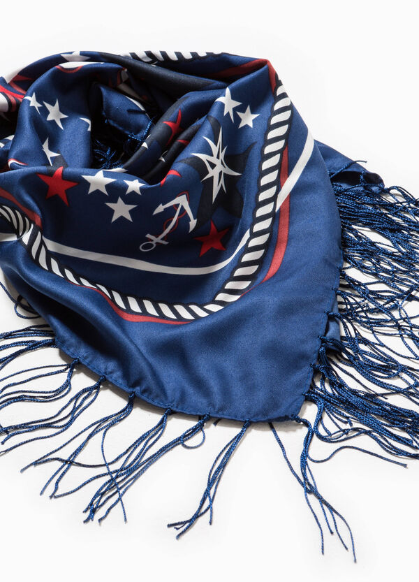 Printed scarf with fringe | OVS