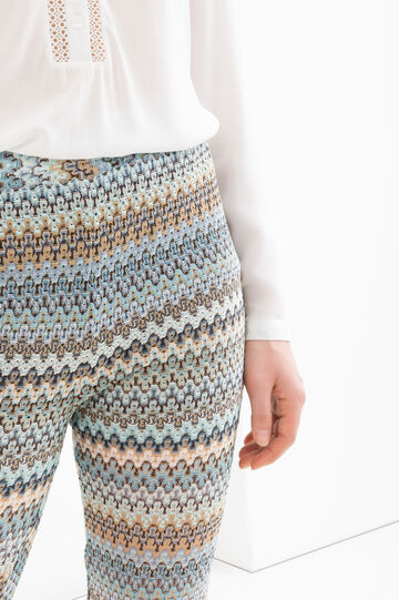 Stretch patterned flared trousers, Multicolour, hi-res