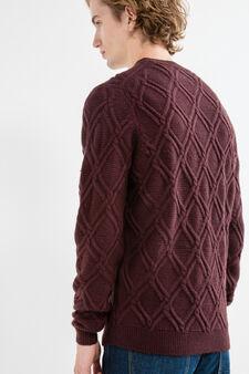 Pullover lavorato tricot scollo rotondo, Viola porpora, hi-res