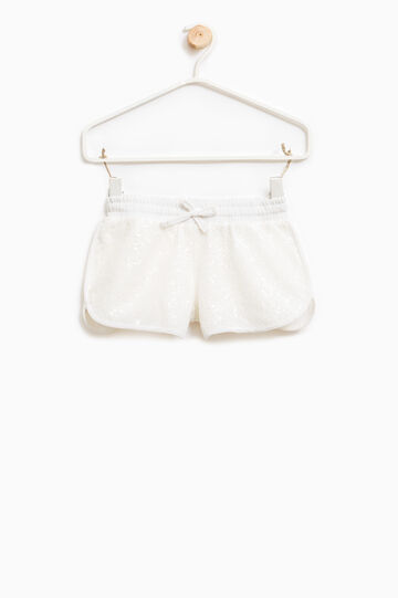 Shorts with sequins and drawstring, Milky White, hi-res