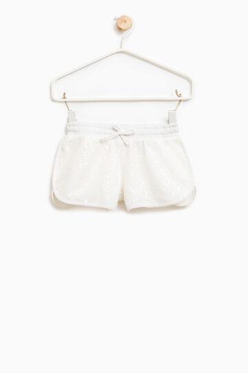 Shorts con paillettes e coulisse, Bianco latte, hi-res