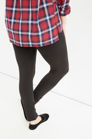 Leggings cotone stretch tinta unita Curvy, Nero, hi-res