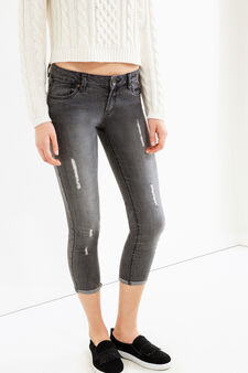 Worn-effect skinny-fit, cropped stretch jeans, Grey, hi-res