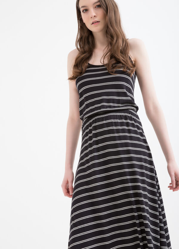Long 100% viscose dress with stripes | OVS