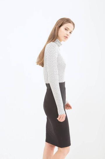 Patterned stretch viscose T-shirt, Black/White, hi-res