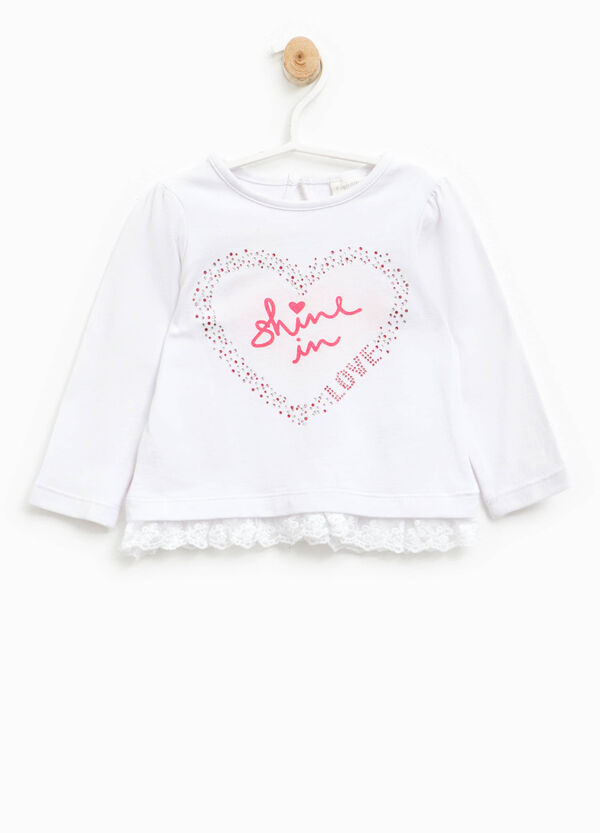 Printed T-shirt with diamantés and lace | OVS
