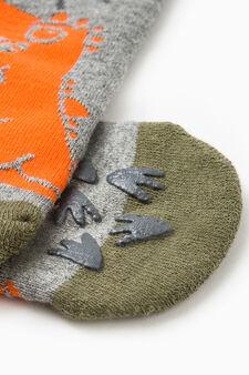 Dinosaur embroidered slipper socks, Grey Marl, hi-res
