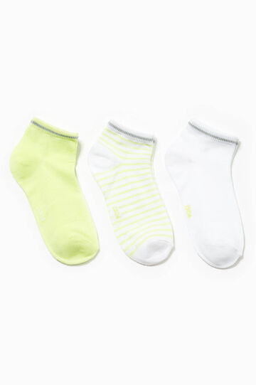 Three-pair pack solid colour and striped socks