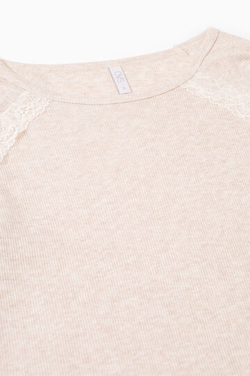 Ribbed pyjama top with lace, Beige, hi-res