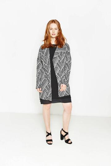 Curvy long jacket with geometric pattern
