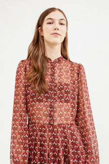 Semi-sheer patterned dress, Claret Red, hi-res