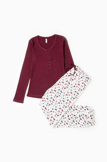 100% cotton pyjamas with flower pattern, Claret Red, hi-res